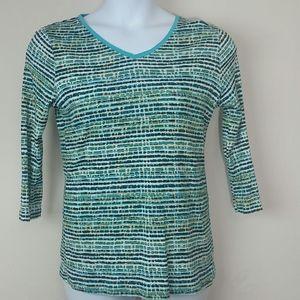 T-shirt long sleeve Aqua turquoise white v-neck